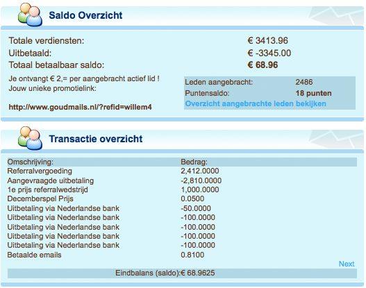 Meer dan €3000 euro verdiend bij GoudMails