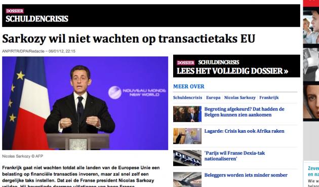 Gevaarlijke Sarkozy einde euro